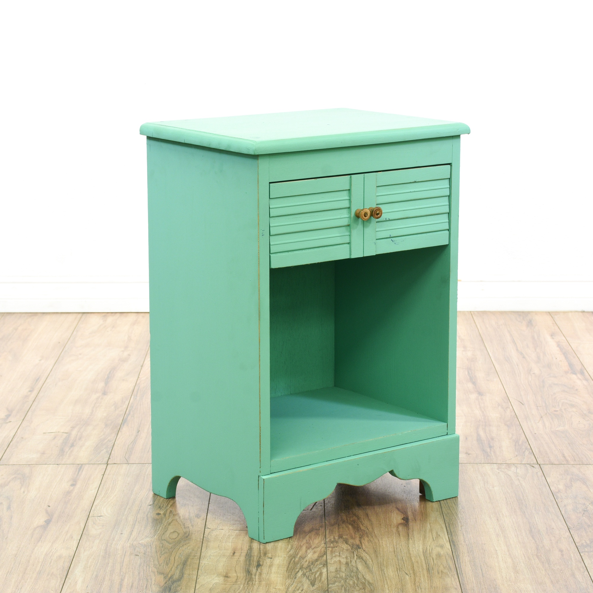 Teal Green Shabby Chic Nightstand Cabinet