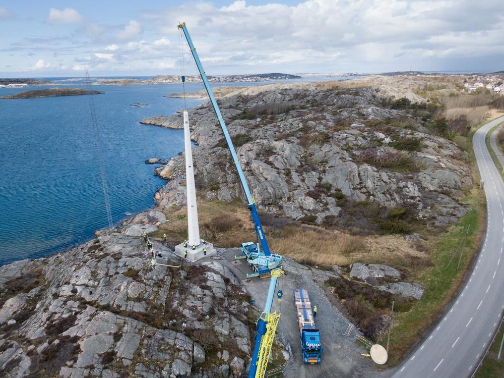Vindkraftstorn av trä utanför Göteborg, levererat av Modvion. Foto: Modvion