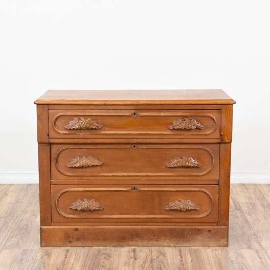 Small Carved Light Cherry 3 Drawer Dresser
