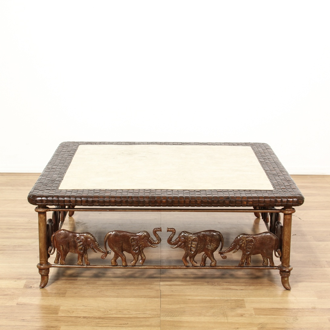 Stone Inlay Elephant Carved Coffee Table Loveseat Vintage Furniture San Diego Los Angeles