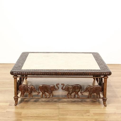 Stone Inlay Elephant Carved Coffee Table Loveseat Vintage Furniture San Diego Los Angeles
