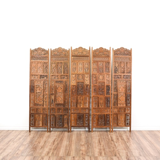 Set Of 5 Indian Hand Carved Sheesham Wood Panels