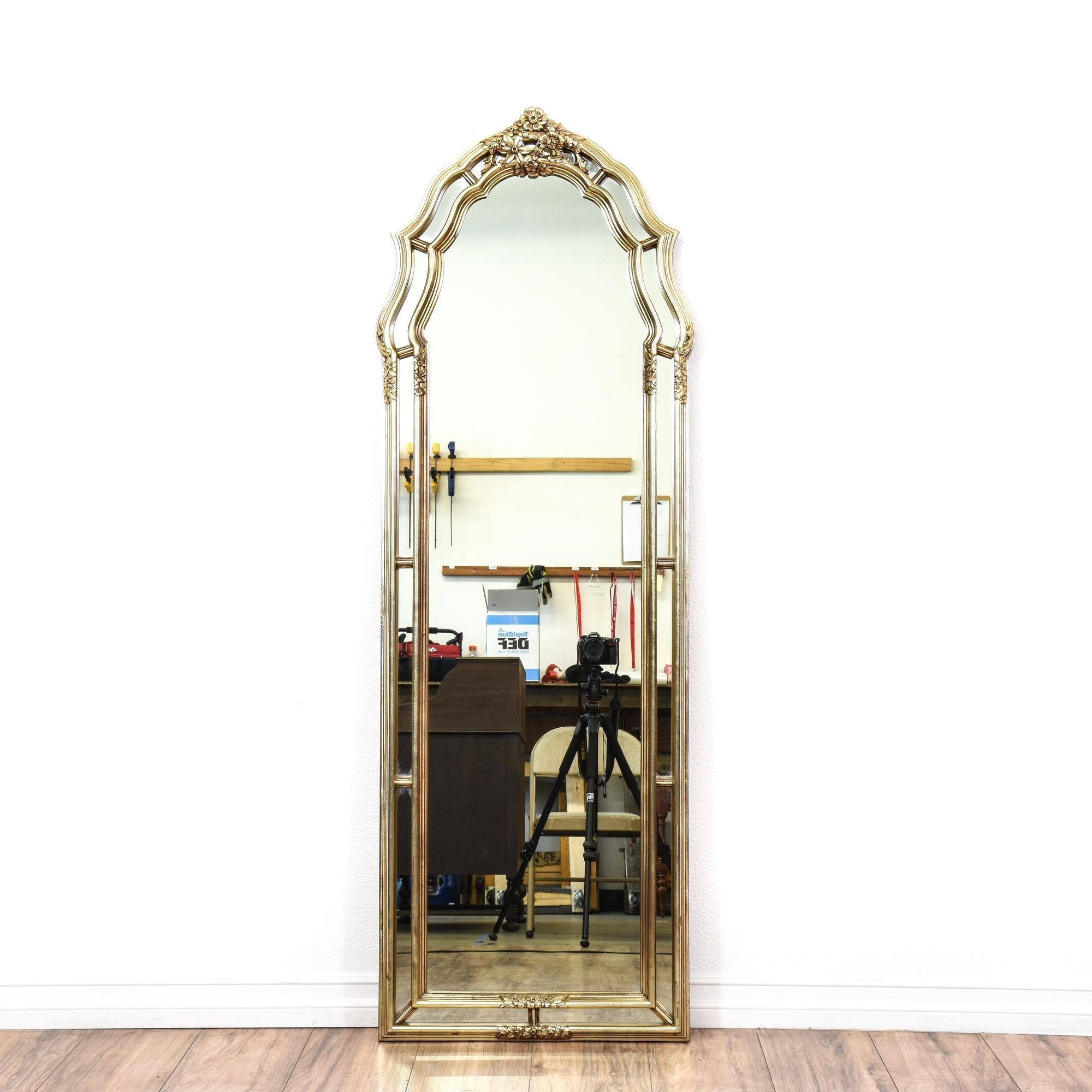 White gold floral full length mirror loveseat vintage for White full length mirror