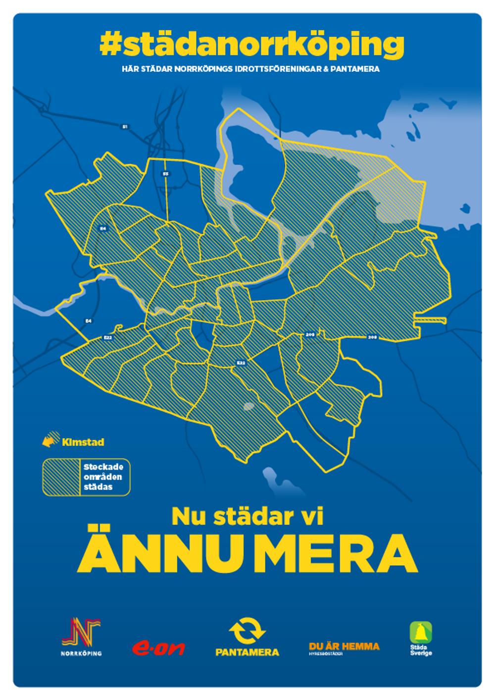 Karta över städområden, Städa Norrköping 2021 Illustration: Returpack