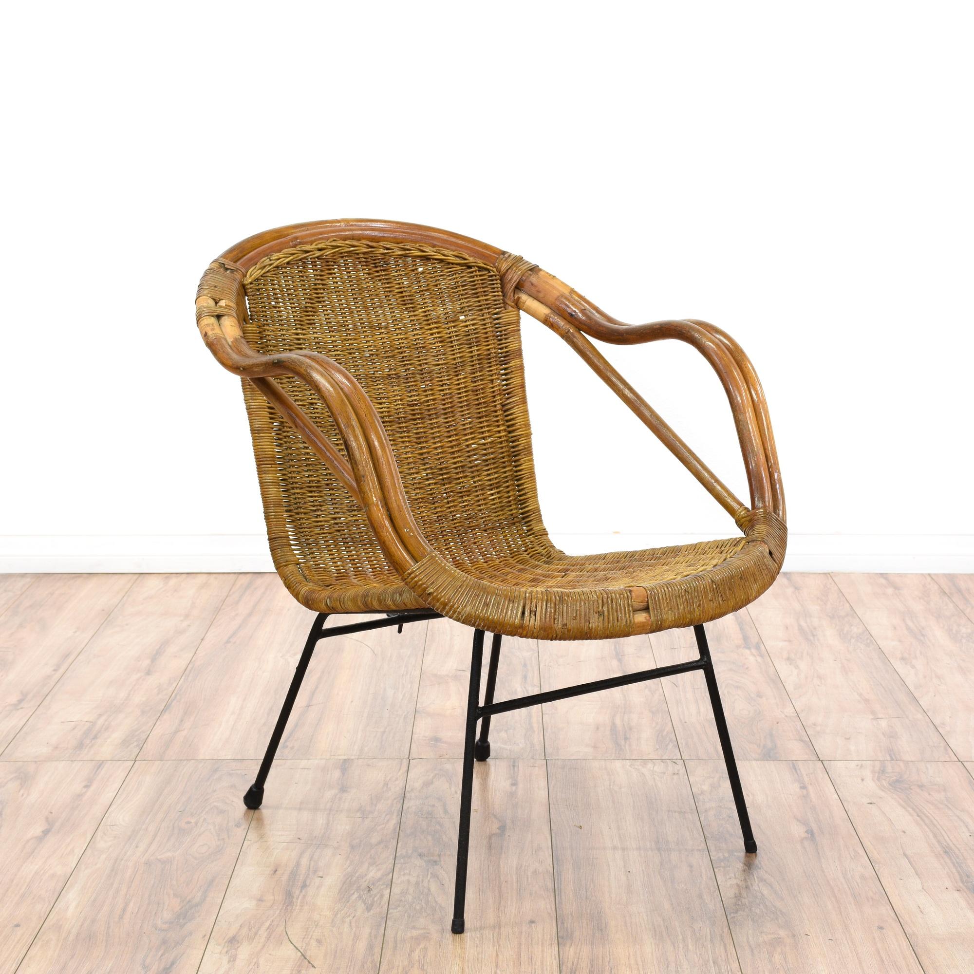 Mid Century Modern Wicker Accent Chair Loveseat Vintage