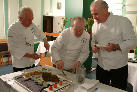 Michel Roux, Victor Ceserani and Rick Stein at the Roux Scholarship