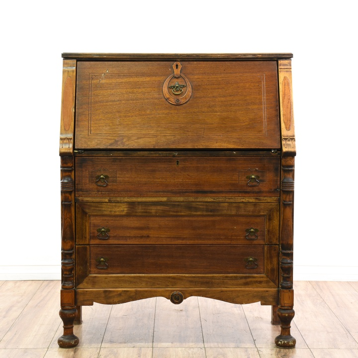 Rustic Carved Secretary Desk W 3 Bottom Drawers