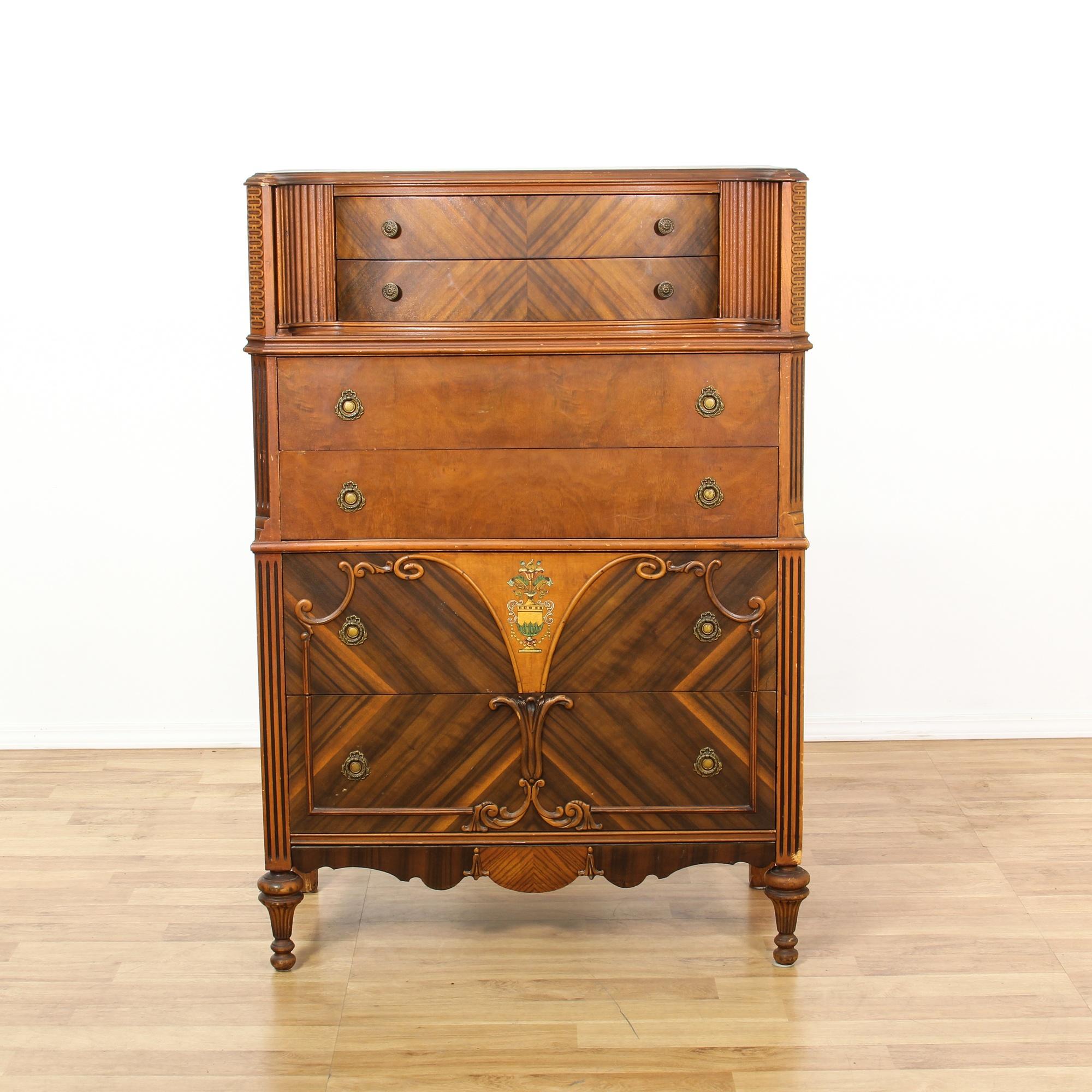Antique Cherry Marquetry Inlay Highboy Dresser
