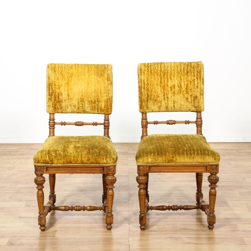 pair of mustard yellow velvet accent chairs loveseat vintage furniture san diego los angeles. Black Bedroom Furniture Sets. Home Design Ideas