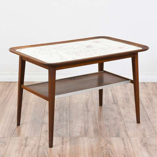 Mid Century Modern 2 Tiered Map Top End Table