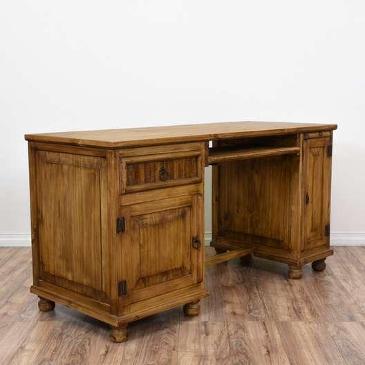 Rustic Kneehole Desk w/ Cabinets