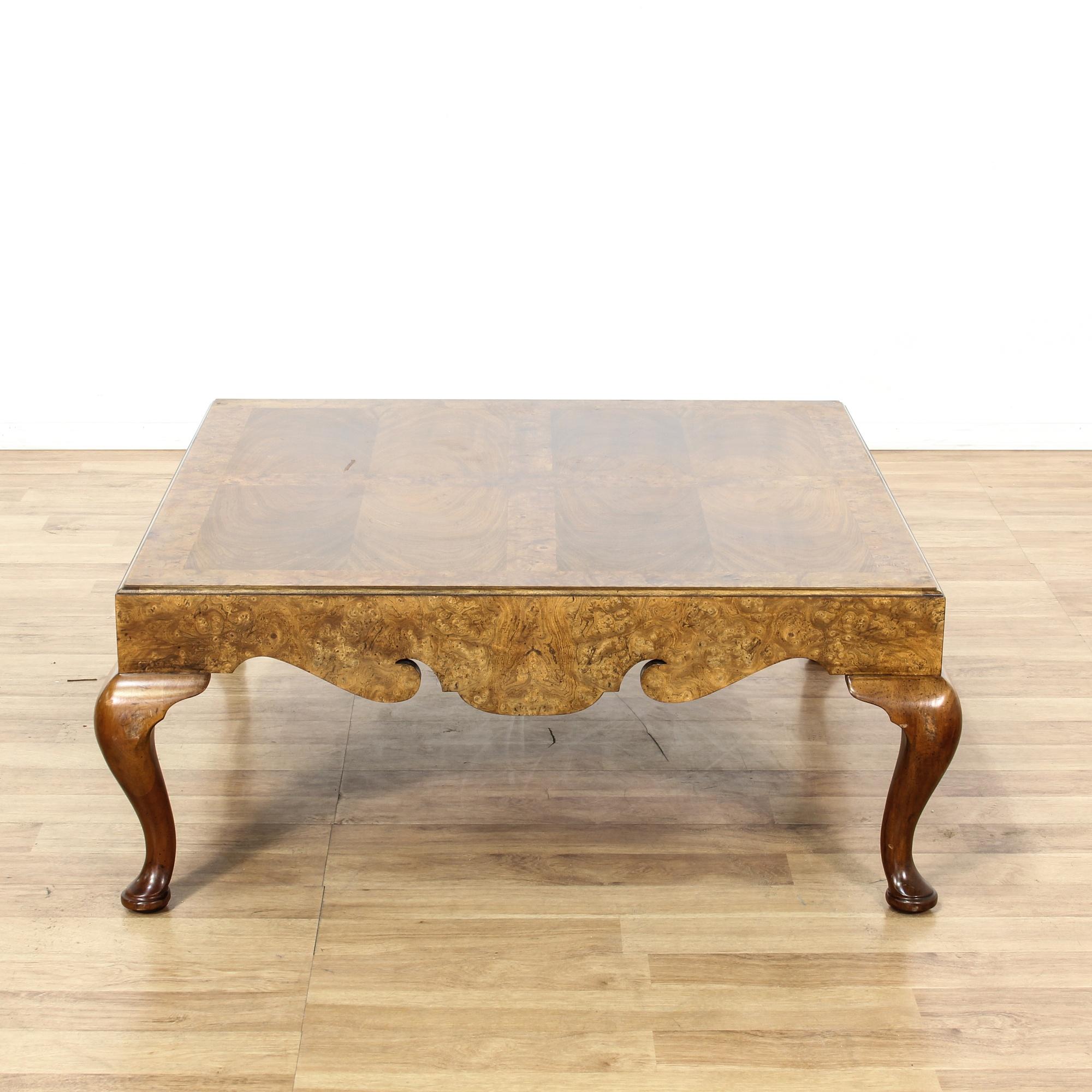 Burl Coffee Table Legs: Large Square Burl Wood Coffee Table