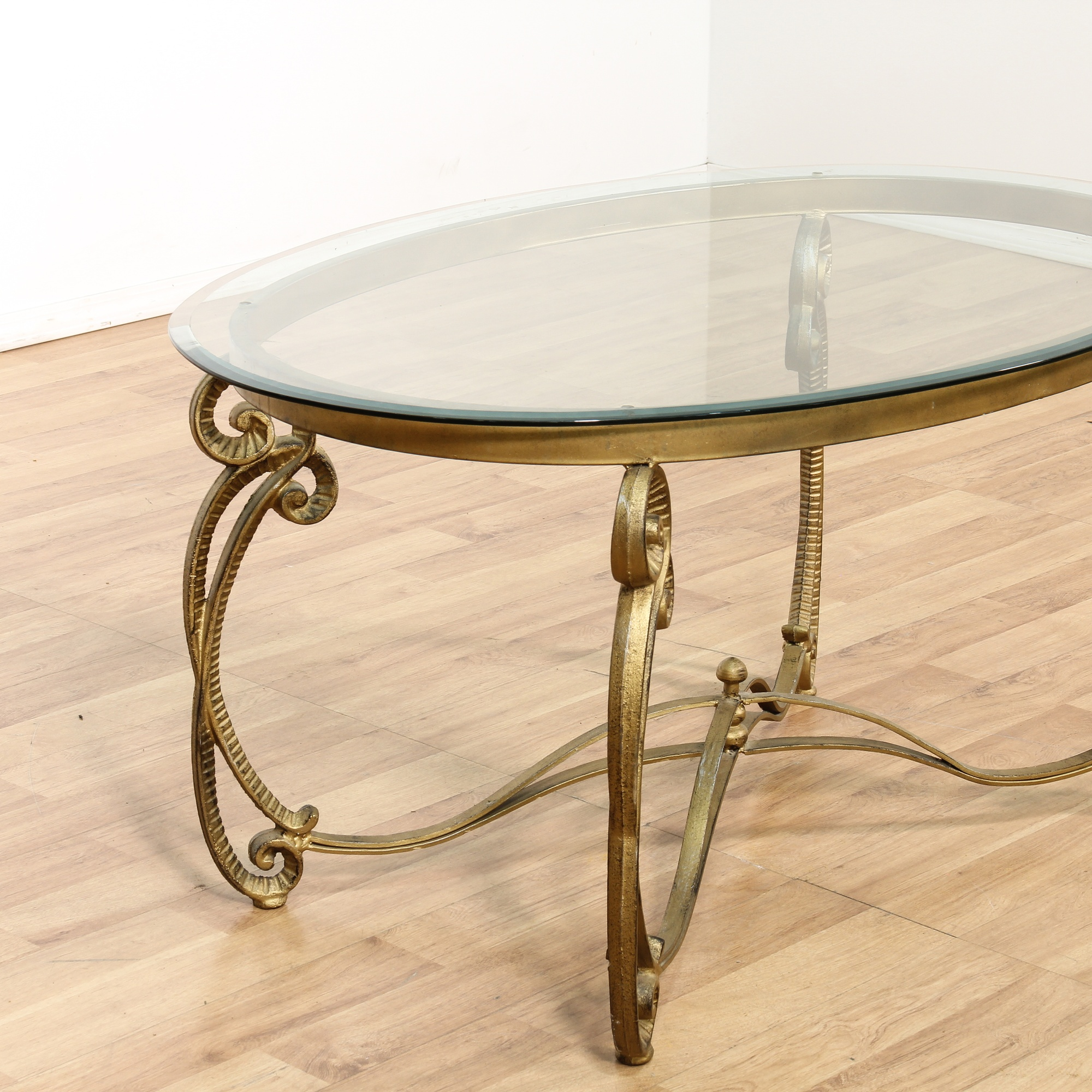 Hollywood Regency Glass Top Oval Coffee Table Loveseat Vintage Furniture San Diego Los Angeles