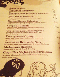 A Belle Epoque menu from the 1970s