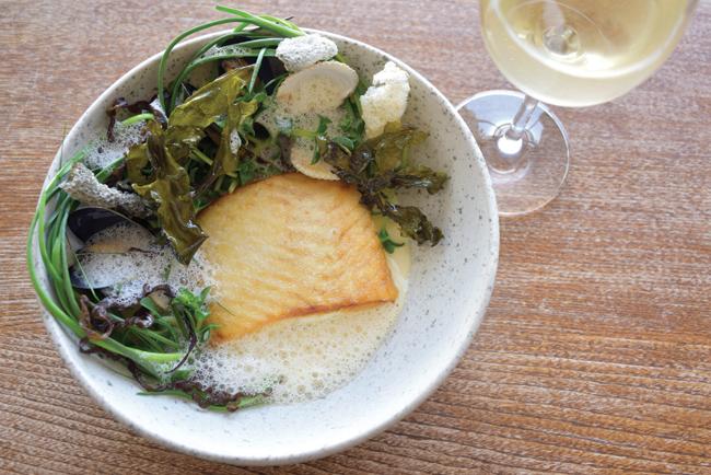 Gigha halibut, mussels and coastal greens