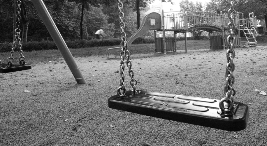 swingset in black and white