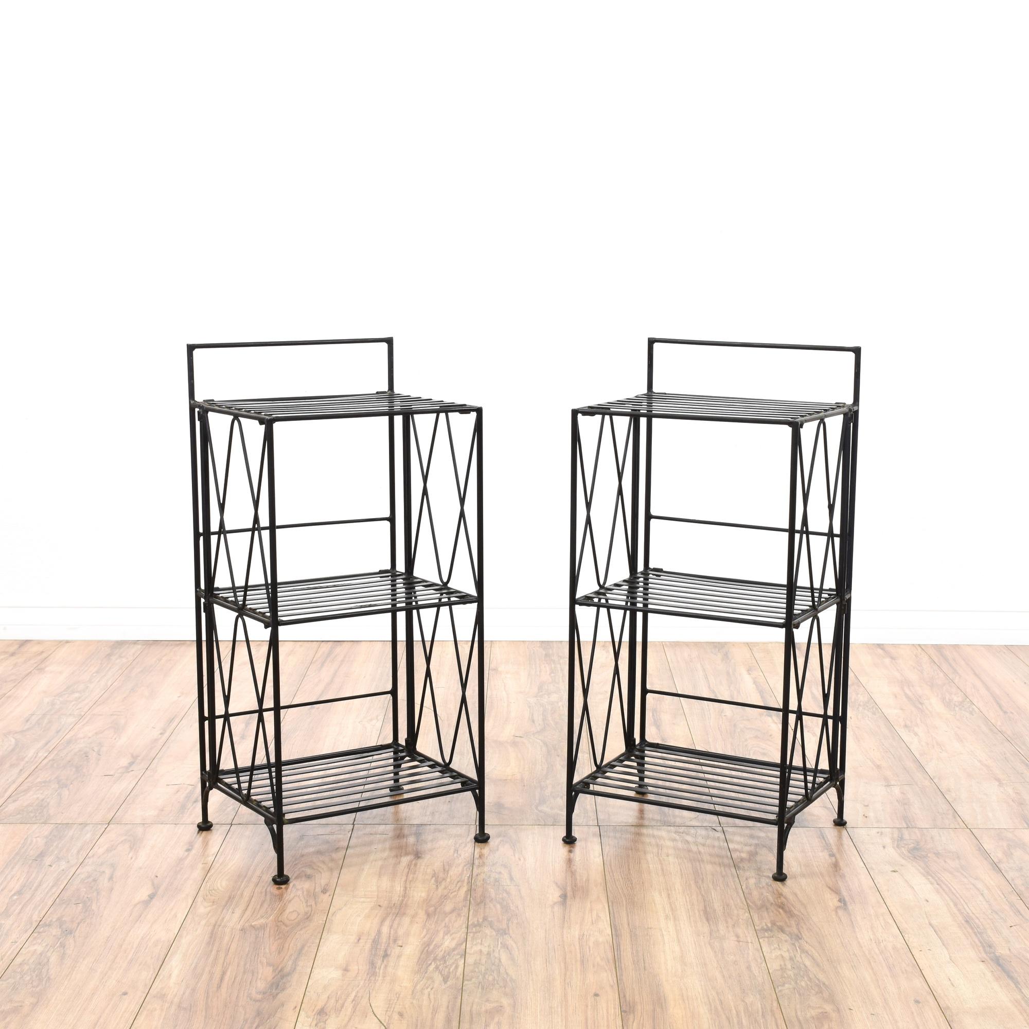 pair of wrought iron folding shelves loveseat vintage furniture san diego los angeles. Black Bedroom Furniture Sets. Home Design Ideas