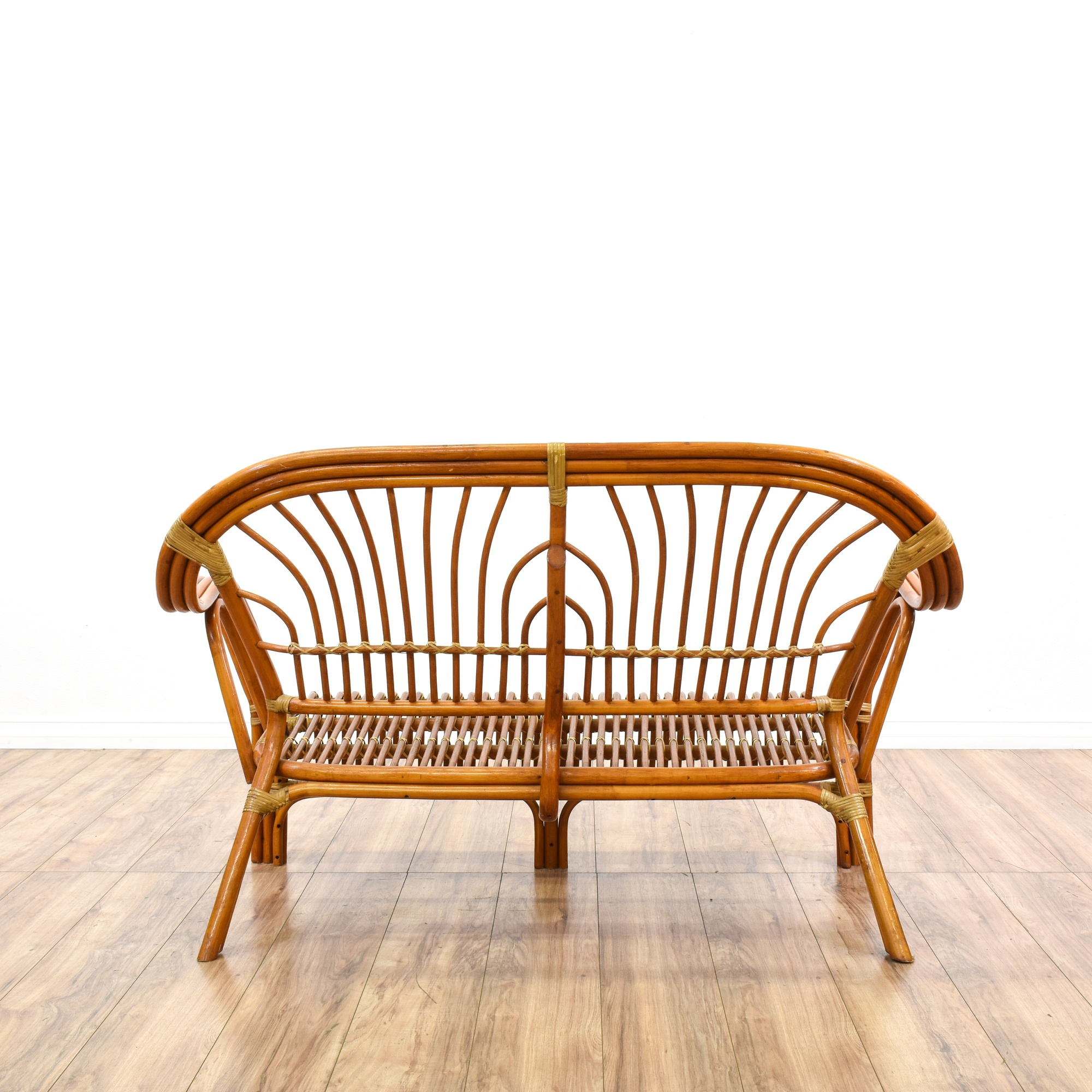Bohemian Curved Rattan Loveseat Sofa Loveseat Vintage