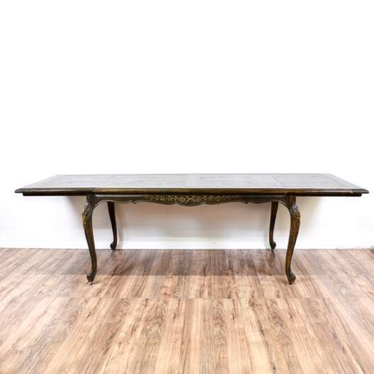 Carved Dining Table w/ 2 Leaves