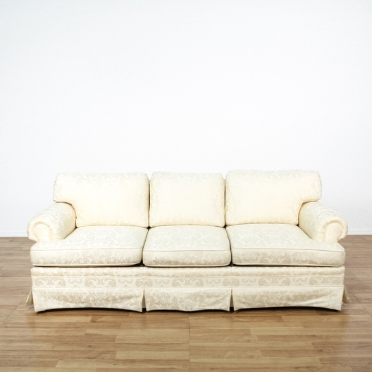 Damask Brocade White Sofa Loveseat Vintage Furniture Los