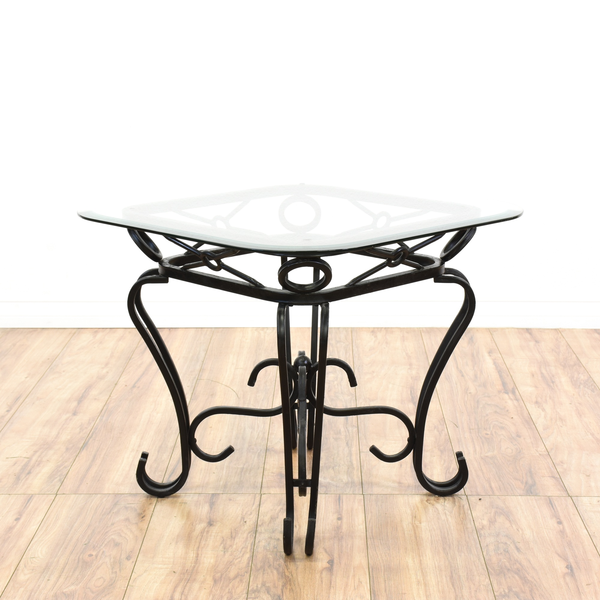 Black wrought iron glass top end table loveseat vintage for Wrought iron side table