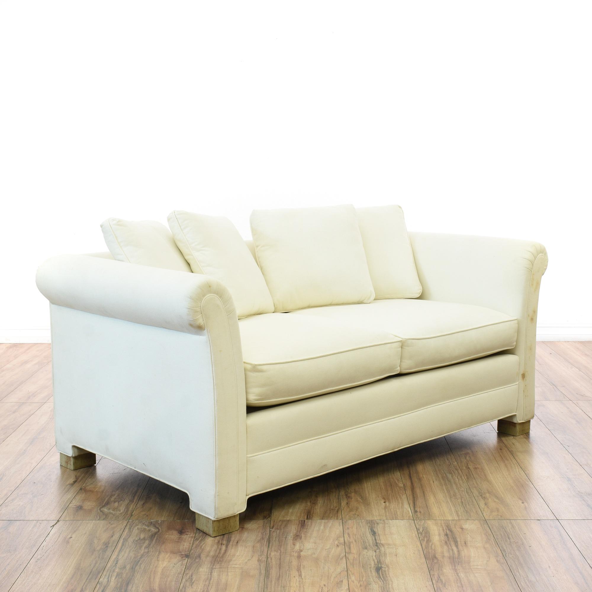 Cottage Chic White Loveseat Sofa