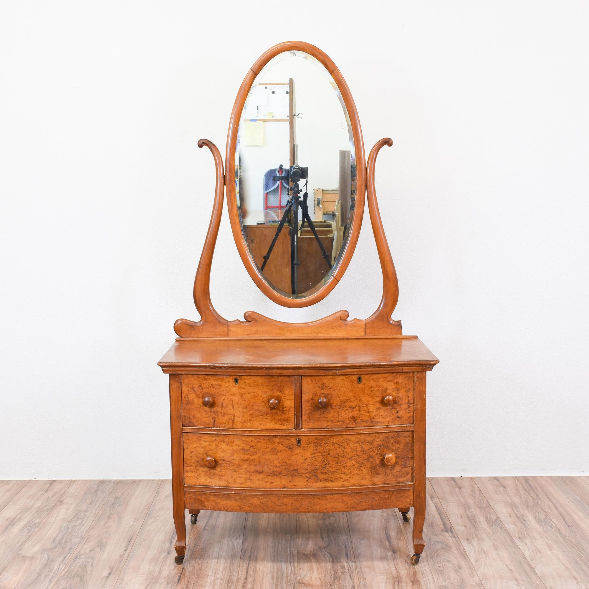 Antique Birdseye Maple Vanity Dresser W Mirror Loveseat