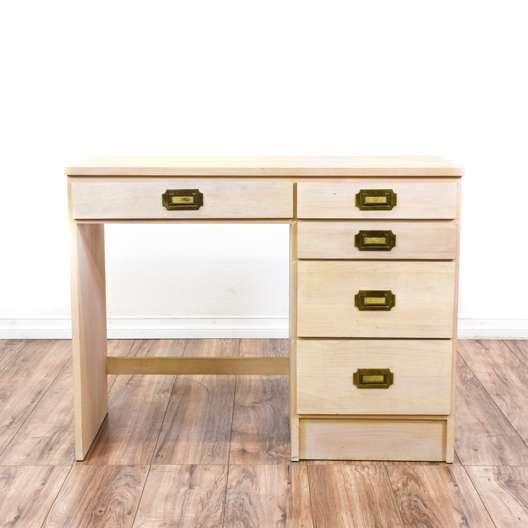 Vintage 5-Drawer Campaign Style Desk
