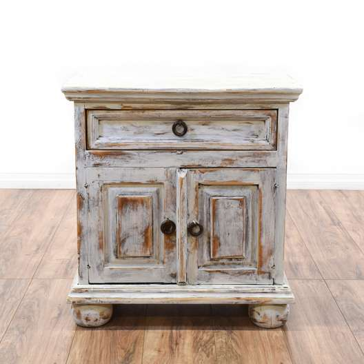 Shabby Chic Distressed White Nightstand Cabinet