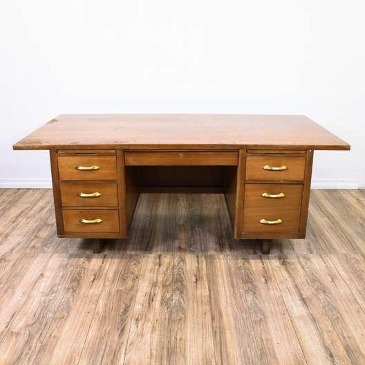 Mid Century Modern Wood Tanker Desk