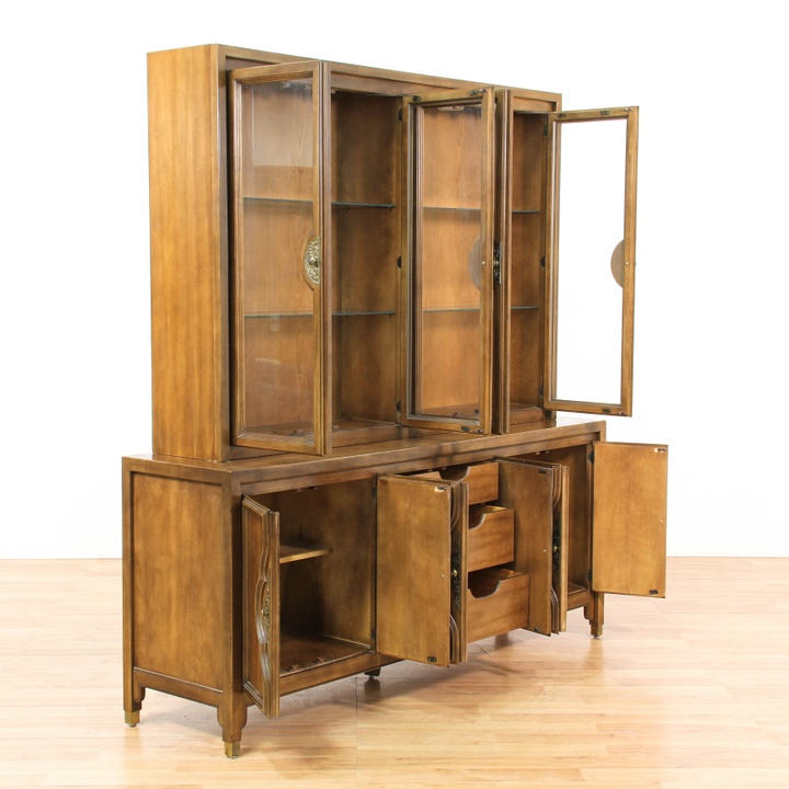 large asian campaign style china cabinet buffet loveseat vintage furniture los angeles. Black Bedroom Furniture Sets. Home Design Ideas