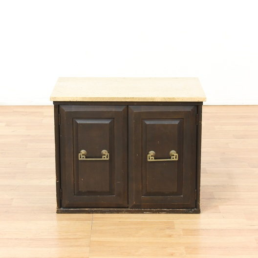 Contemporary 2 door end table cabinet w stone top for G furniture los angeles