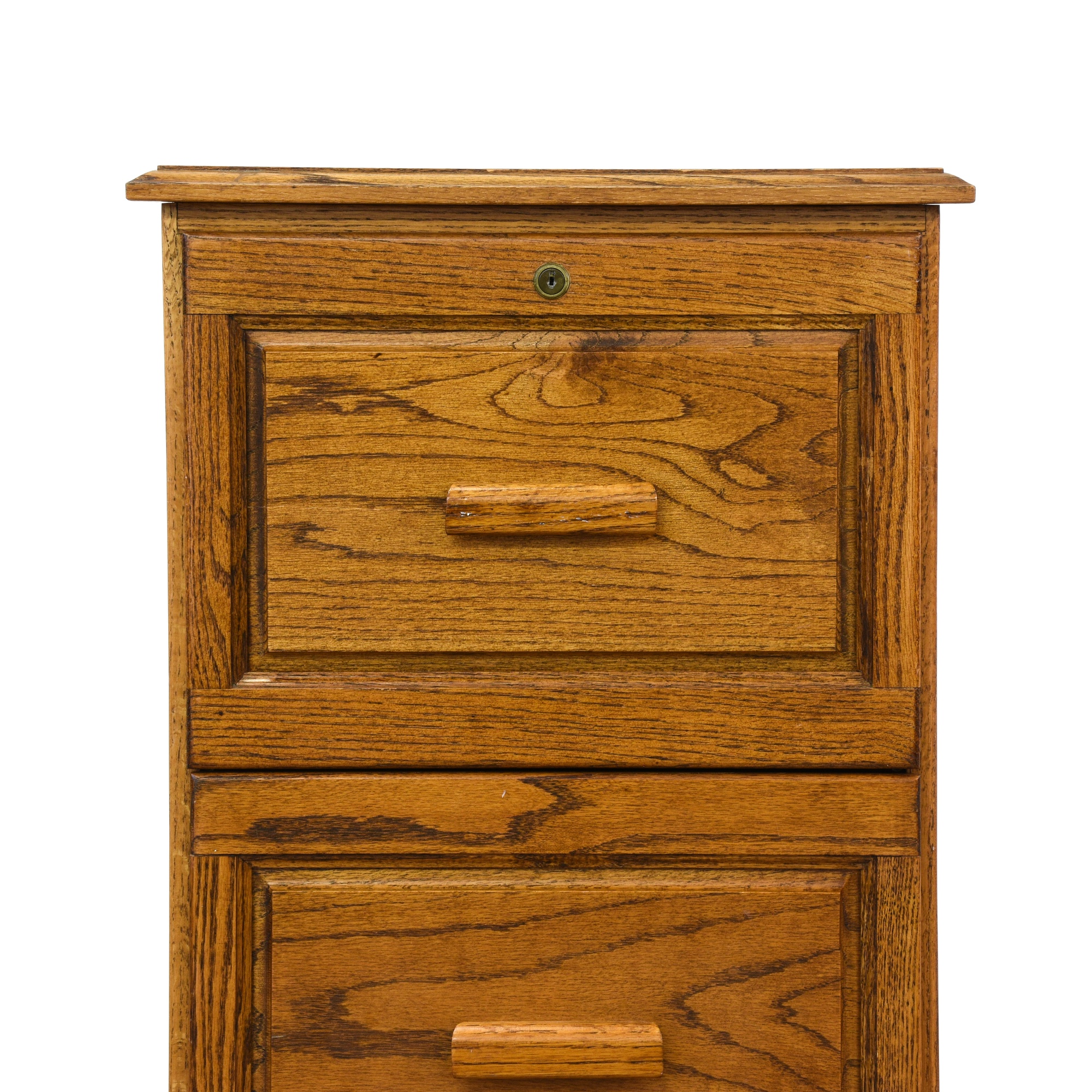 Small Solid Oak 3 Drawer Filing Cabinet