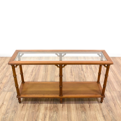 Tropical Carved Faux Bamboo Console Table Loveseat