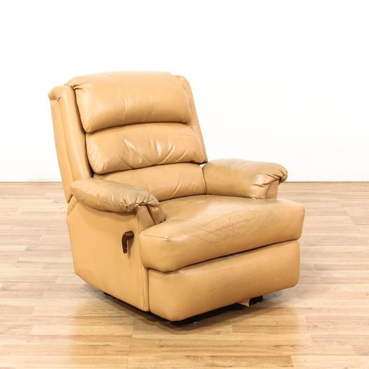 Beige Upholstered Leather Recliner Loveseat Vintage