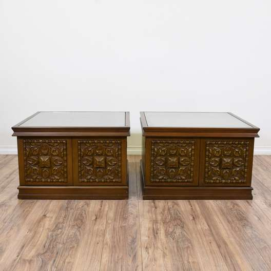 Pair of Carved Square Glass Top Cabinet End Tables