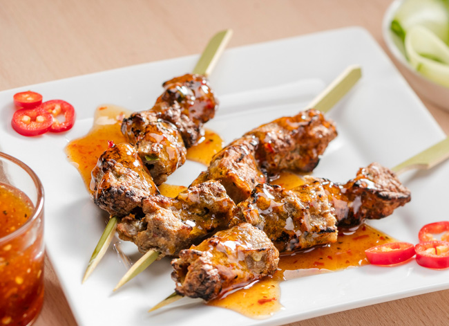 Lion's Thai honey sticky sauce with chicken skewers