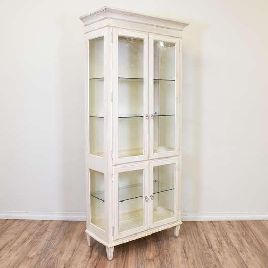 "White ""Ethan Allen"" Curio Cabinet Display Case"