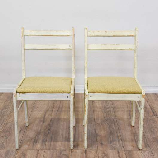 Pair of Off White Shabby Chic Dining Chairs