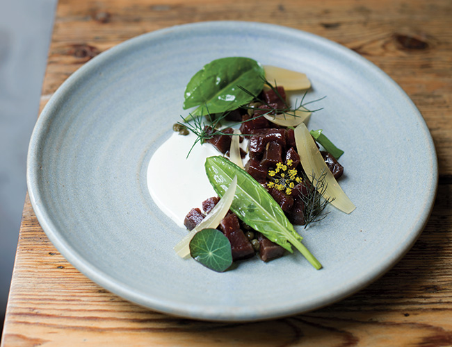 60-day-aged beef tartare with sour onions and nasturtium capers from London: The Cookbook