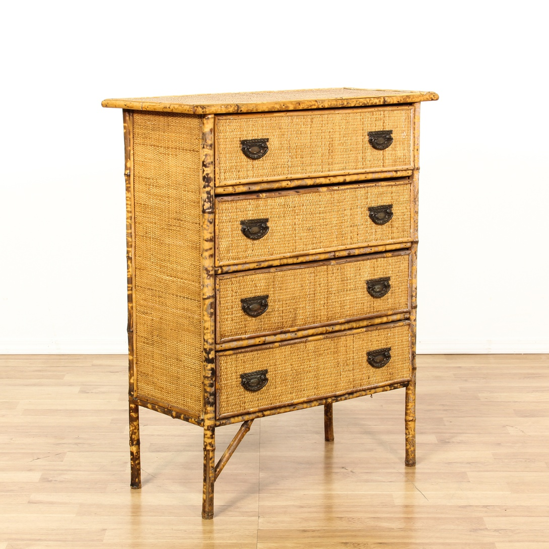 Bamboo Woven Panel 4 Drawer Chest Loveseat Vintage