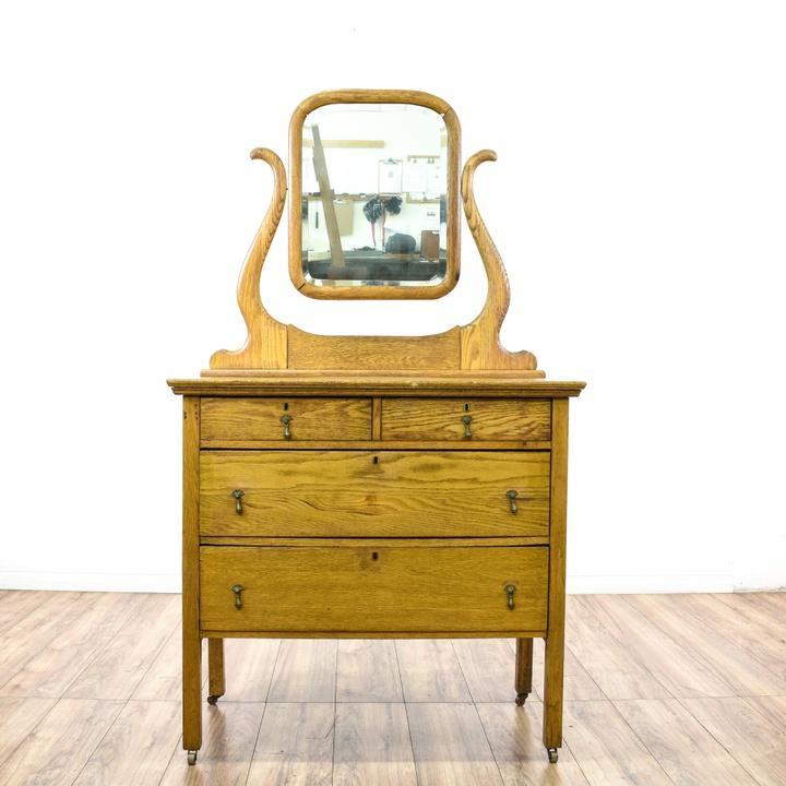 Art Deco Waterfall Front Vanity Dresser W Mirror