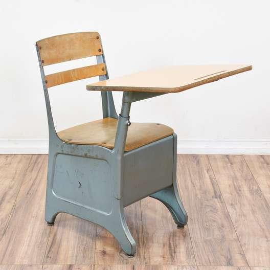 Vintage Metal School Desk W/ Attached Chair 2