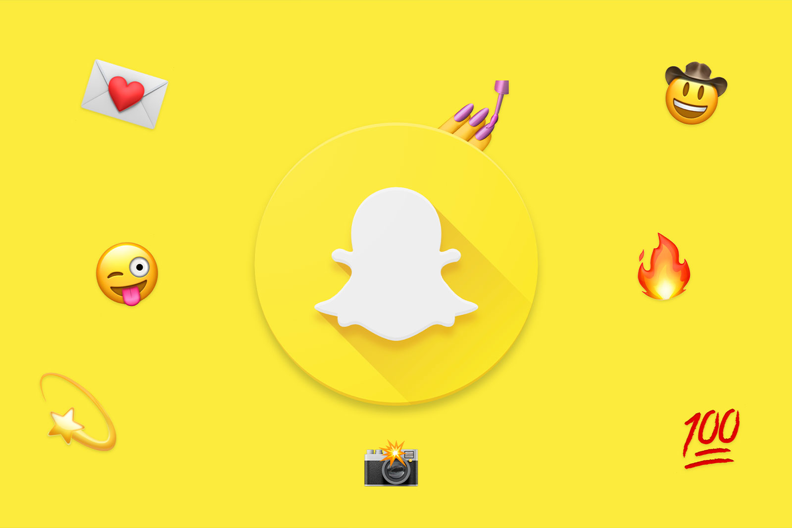 The Snapchat logo surrounded by various emoticons.