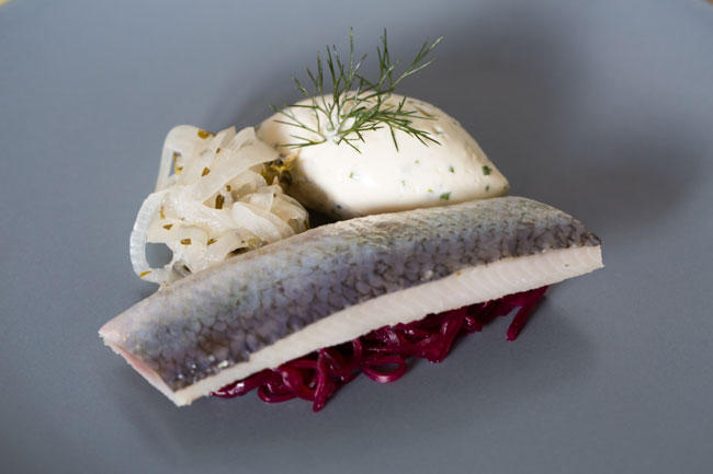 Sweet soused herring with beetroot and horseradish cream