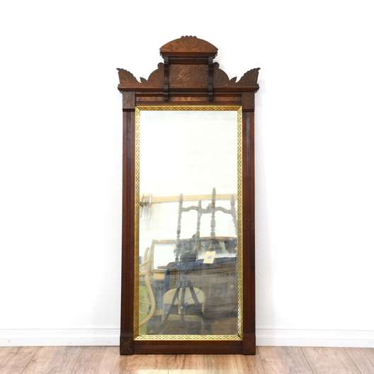 Carved Eastlake Mirror w/ Brass Accents