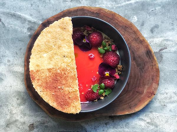 Hay cream and Kentish raspberries