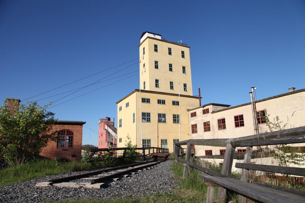 Bild på byggnaderna vid Stripa gruva.