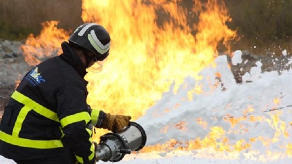 Övning med brandskum