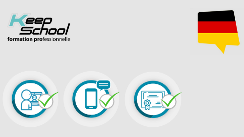 Représentation de la formation : Allemand Certification BRIGHT LANGUAGE : cours particuliers en visio (40h) + e-learning